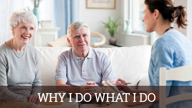 Two senior adults talking to a woman about assisted living & Long Term Senior Care