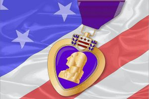 Purple Heart with American flag behind it, Long Term Asurrance